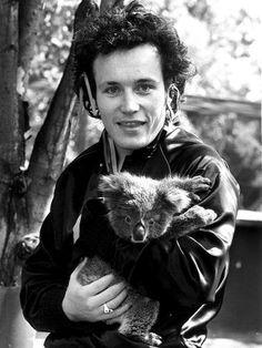 Adam Ant and a koala, 1981