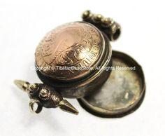 Bhutanese Coin Ghau Prayer Box Pendant with Inlaid Metal Accent Beads - Handmade Nepal Tibetan Ethnic Pendant Jewelry - WM4801