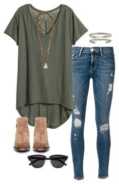 Shop the Look. Military green t-shirt distressed skinny - Shirt Casuals - Ideas of Shirt Casual - Shop the Look. Military green t-shirt distressed skinny jeans suede booties sunglasses and trendy jewelry. Mode Outfits, Casual Outfits, Fashion Outfits, Womens Fashion, Hot Fall Outfits, Fashion Trends, Fashion Ideas, Summer Outfits Women Over 40, Fasion