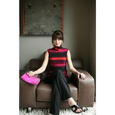 Lesley Evers Nora Top - magenta stripes