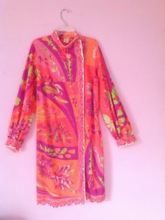 MOD exotic 60s Emillio Pucci dress resort psychedelic S/M colorful small/medium…