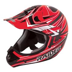 Raider Youth Rush MX Helmet Black/Red, Motorcycle Helmets