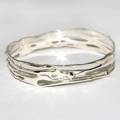 Handmade silver jewellery, perfect gift, unique jewellery, worldwide shipping Beautiful sterling silver organic Bangle on Etsy, £140.00