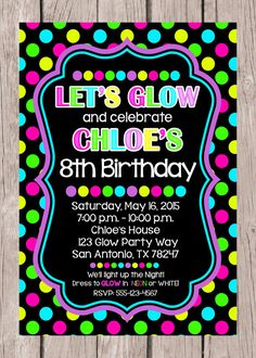 Printable Glow Birthday Party Invitation Neon By Ciaobambino
