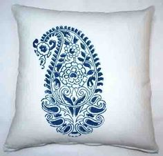Indigo Grande Paisley Throw Pillow
