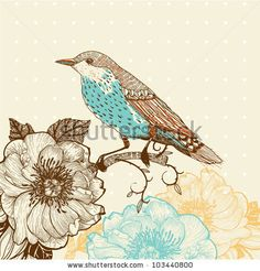 vintage birds | vector illustration of a bird and blooming flowers in a vintage style