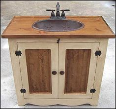 Country Bathroom Vanities wash stand vanity base cabinet-country rustic primitive furniture