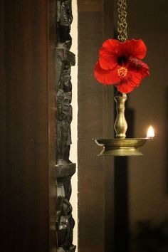 Hanging brass diya in front of pooja door | Home Tour: A beautiful Antique Modern home in Bangalore ~ The Keybunch Decor Blog Makes You Beautiful, Beautiful Homes, Brick Cladding, Vintage Trunks, Tanjore Painting, Pooja Rooms, Room Doors, Stone Flooring, Decorating Blogs