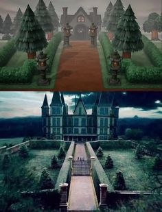 MY ANIMAL CROSSING MALFOY MANOR - I've tried to make my house entrance look like the Malfoy Manor from Harry Potter movies. 🐍🤍 : andyowlvole Harry Potter Houses, Hogwarts Houses, Animal Crossing Movie, House Entrance, My Animal, Slytherin, My House, Cool Art, Places To Visit