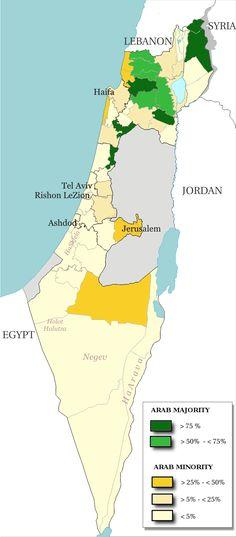 Arabische Minderheit in Israel (2000). // Arab population israel 2000 en ◆Israel – Wikipedia http://de.wikipedia.org/wiki/Israel #Israel