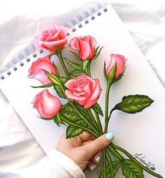drawing kristina did with real roses and roses she drew