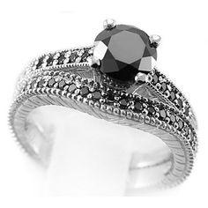 Vintage+Wedding+Ring+Sets   ... Rings 1.30ct Black Diamond Engagement & Wedding Ring Set Vintage