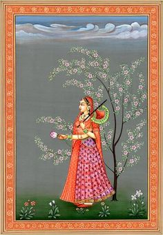 The Princess, Water Color Painting on Paper, Artist Kailash Raj Pichwai Paintings, Mughal Paintings, Indian Art Paintings, Landscape Paintings, Abstract Paintings, Indian Artwork, Indian Folk Art, Madhubani Art, Madhubani Painting