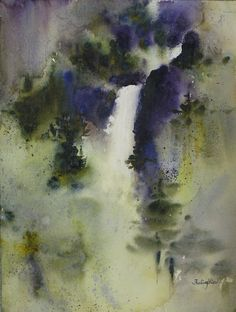 "Contemporary Painting - ""Water Fall"" (Original Art from Fealing Lin Watercolors)"