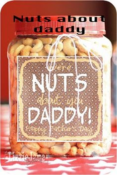 Were nuts about you, Daddy ... great fathers day gift!   #nuts #nut #printable #fathersday #dad #father #day #holiday #craft #gift #DIY