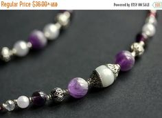 EASTER SALE Badge Holder or Eyeglass Chain. Amethyst Lanyard. Badge Lanyard. Glasses Necklace. Gemstone Lanyard. Eyeglass Holder. White Bead by Gilliauna from Bits n Beads by Gilliauna. Find it now at http://ift.tt/1Z0d7ON!
