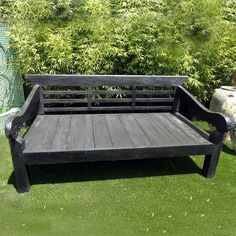 Beautiful black finish Balinese teak daybed for indoor or outdoor use.  Custom cushions available in any Sunbrella fabric.  MIXfurniture.com