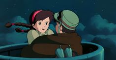 Screencap Gallery for Castle in the Sky Bluray, Studio Ghibli). A young boy stumbles into a mysterious girl who floats down from the sky. The girl, Sheeta, was chased by pirates, army and government secret agents. Studio Ghibli Art, Studio Ghibli Movies, Hayao Miyazaki, Film Animation Japonais, Sky Gif, Castle In The Sky, Film D'animation, Totoro, Disney Pixar