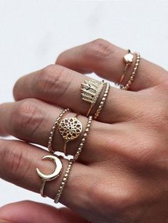 9 Pcs Bohemian Ring Set Vintage Moon Heart Flower Crown Silver Gold Knuckle Rings Gift for Women Knuckle Rings, Vintage Gold Rings, Vintage Silver, Vintage Heart, Jewelry Party, Jewelry Gifts, Punk Jewelry, Women's Jewelry, Thing 1