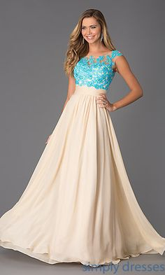 Floor Length Cap Sleeve Lace Embellished Dress at SimplyDresses.com