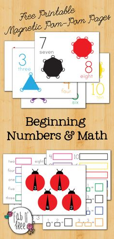 LEARNING WITH CRAFTS  ~~ This is a follow-up to a previous pin on magnetic POM-POM's for learning the alphabet courtesy of Fab n' Free. They've just added some new POM-POM printables - this time focusing on learning numbers.  Colorful and fun.
