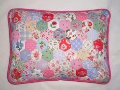 Patchwork Cushion/Pillow  Hexagons in Vintage by edinburghpatches, $43.00