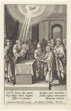 Hieronymus Wierix | Presentatie in de tempel, Hieronymus Wierix, 1563 - before 1619 | De hogepriester Simeon houdt het Christuskind in zijn armen, dat door Maria en Jozef naar de tempel is gebracht. Zij knielen voor het altaar met een duivenpaar in de handen. De duif van de Heilige Geest daalt neer op het Kind. De profetes Hanna en anderen kijken toe. In de marge een zesregelig onderschrift, in twee kolommen, in het Latijn.