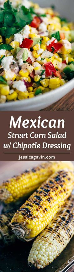 Mexican Street Corn Salad with Chipotle Dressing - This recipe is a fiesta in a bowl! A healthy salad packed with fresh vegetables and creamy chipotle yogurt dressing. via @foodiegavin