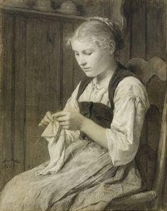 """""""Knitting Girl"""" (1881), by Swiss artist - Albert Anker (1831-1910), Drawing - charcoal, 55 x 42 cm. (21.65 x 16.54 in.), Private collection."""