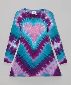 Pink & Aqua Heart Tie-Dye A-Line Dress - Toddler & Girls