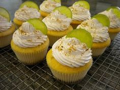 Key lime cupcake with Ginger Snap crust with key lime filing and meringue frosting Cupcake Recipes, Cupcake Cakes, Dessert Recipes, Cup Cakes, Key Lime Mousse, Key Lime Cupcakes, Meringue Frosting, Lime Cream, Cake Craft