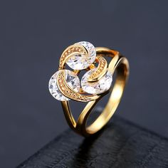#BangGood - #Eachine1 Elegant Trinity Shining Zircon Gold Plated Copper Women Finger Ring Fine Jewelry - AdoreWe.com