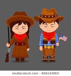 Cowgirl and cowboy. Western. Americans in national clothes. Man and woman in traditional costume. People. Vector flat illustration.