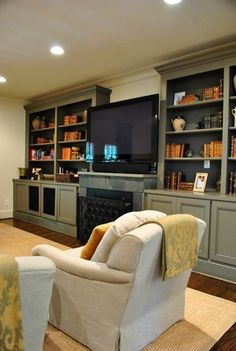 Idea for built ins in my living room Living Room Built Ins, Home Living Room, Living Spaces, Painted Built Ins, Built In Bookcase, Bookcases, Grey Bookshelves, Painted Bookshelves, Fireplace Built Ins