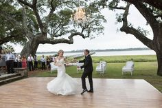 dance floor under the oaks and a chandelier | Ellis Photo Studio