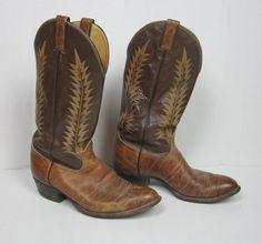 Tony Lama Mens Boots Aztec Shrunken Shoulder Foot Treebark Kidd Top 10 1/2 EE #TonyLama #CowboyWestern