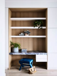 The Princes Hill House by Christopher Elliott Design is a residential interior design project located in Melbourne that combines old and new interior styles Home Office Design, Home Office Decor, House Design, Home Decor, Built In Desk, Built Ins, Residential Interior Design, Interior Architecture, Townhouse Interior