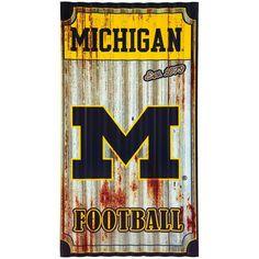 "Michigan Wolverines 21.5"" x 12"" Corrugated Metal Wall Art"