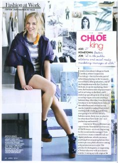 Tibi's Chloe King featured in the April issue of Teen Vogue wearing the Tibi anorak and Blanket stripes