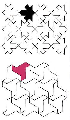 In these 2 examples, the top square hade a shape cut into 2 adjacent sides, with the same shape (rotated protruding from the opposite 2 sides. The bottom example used the midpoint-mirror method on each of the 3 sides. Mathematical Drawing, Vector Pattern, Pattern Design, Escher Tessellations, Module Design, Tesselations, Islamic Patterns, Arabic Pattern, Mc Escher