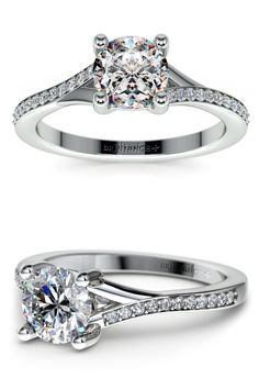 Twenty two round cut diamonds are pave set in this white gold diamond engagement ring setting, accenting your choice of center diamond.