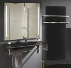 Electric towel radiator / glass / contemporary / vertical - THERMOVIT EDEN - Glassolutions