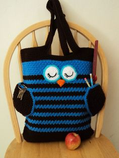 This is a PDF file, not a finished item.  Crochet this cute Sleepy Owl Tote for yourself, a friend, or to sell the finished bag !! :)  You can use it as a book bag, a cute diaper bag or just as a regular every day purse to carry your things in it!  The wings of the owl also work as useful pockets...