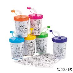 Color Your Own Cups with Lids & Straws    Can print any design for kids to color, or full color pictures