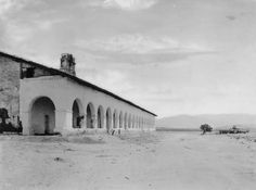 San Fernando Mission, with aAview of the cloisters looking east, circa 1900. On the right is the star shaped fountain. The San Fernando Mission was founded on September 8, 1797, by Father Fermin Lasuen, The San Fernando Mission was the seventeenth in a succession of twenty-one missions established in the state. San Fernando Valley History Digital Library.
