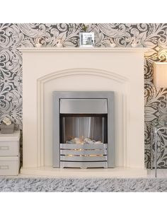 Adam Fire Surrounds Truro Ivory Electric Fire Suite   very.co.uk