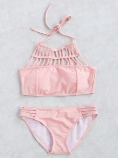 Shop Pink Strappy Cutout Halter Bikini Set at ROMWE, discover more fashion styles online. Bathing Suits For Teens, Summer Bathing Suits, Swimsuits For Teens, Cute Bathing Suits, Cute Swimsuits, Cute Bikinis, Halter Tops, Halter Bikini, Bikini Set