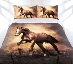 Quilt Cover Set Queen Bed Brown Blaze Horse Themed Bedding Pillowcases New!
