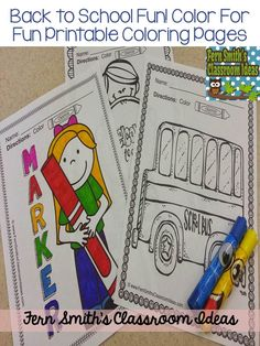 Back to School Fun! Color For Fun Printable Coloring Pages {32 coloring pages equals less than 10 cents a page.} #TPT $Paid #SchoolTheme #BacktoSchool