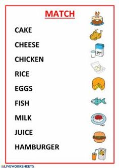 Food Language: English Grade/level: 1º y 2º de primaria School subject: English as a Second Language (ESL) Main content: Food and drinks Other contents: Learning English For Kids, English Worksheets For Kids, Reading Worksheets, Teaching English, Learn English Words, English Lessons, Vocabulary Words, English Vocabulary, Reading Comprehension Test